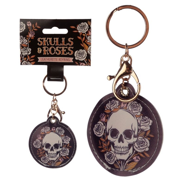 Leatherette Skulls and Roses Keyring