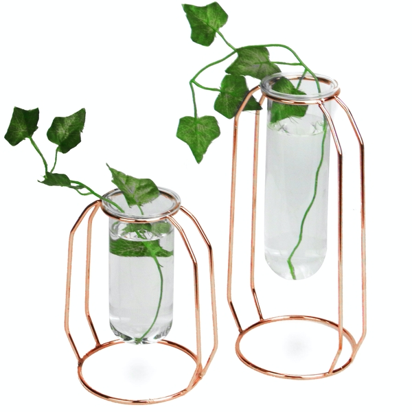 Rose Gold Centrepiece Flower Vases - Set of 2 | M&W