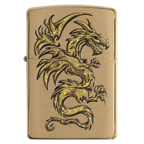Zippo Dragon Armor Brushed Brass Windproof Lighter