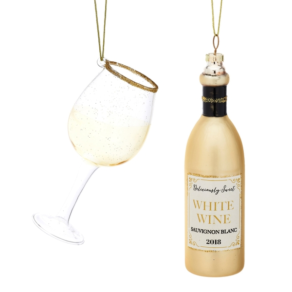 Sass & Belle (Set of 2) Christmas Cheer White Wine and Glass Shaped Bauble