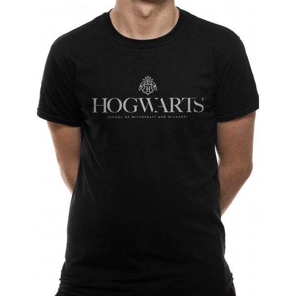 Harry Potter - Hogwarts Pride White Logo Men's Medium T-Shirt - Black