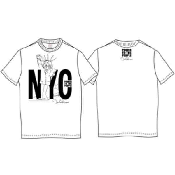 John Lennon Tee Shirt: NYC Power to the People Wht: X Large