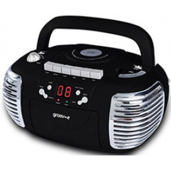 Groov-e Retro Boombox Portable CD & Cassette Player with Radio Black UK Plug