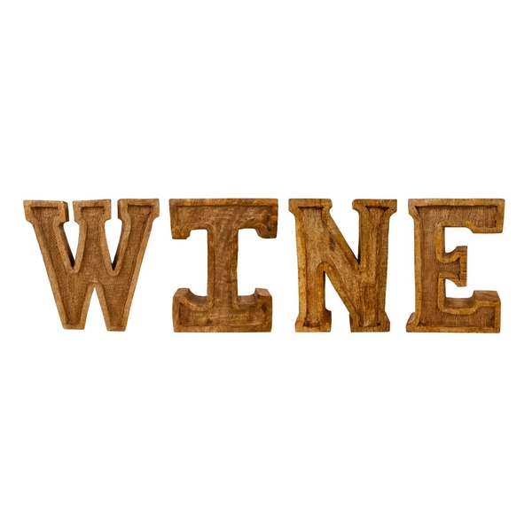 Hand Carved Wooden Embossed Letters Wine