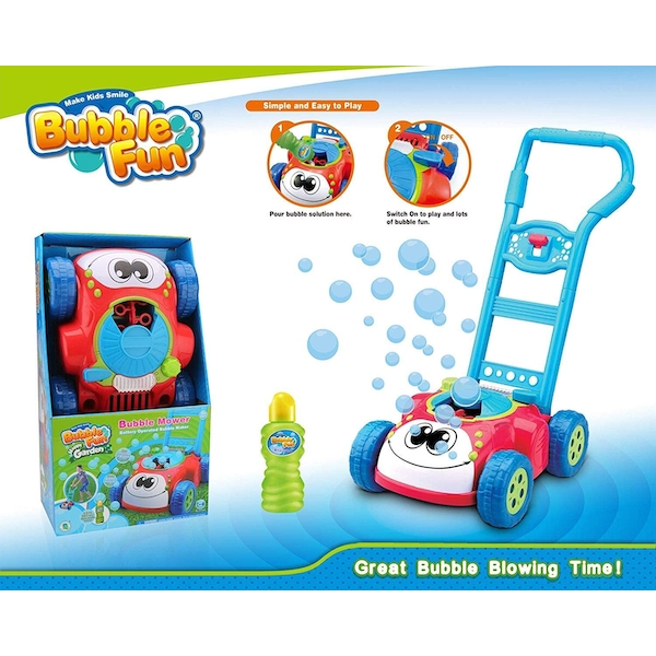Bubble Fun - Happy Garden Bubble Mower With Bubble Solution