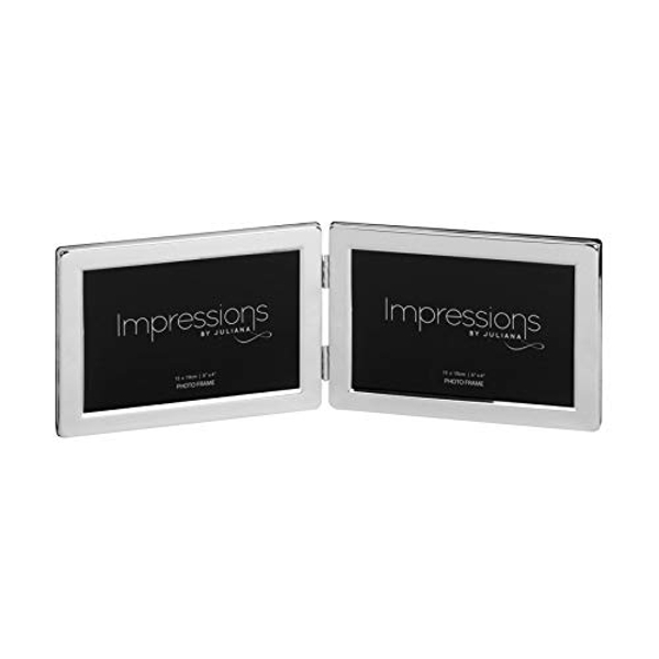 "6"" x 4"" - Impressions Silver Plated Hinged Double Frame"