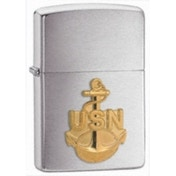 Zippo US Navy Anchor Emblem Brushed Chrome Windproof Lighter