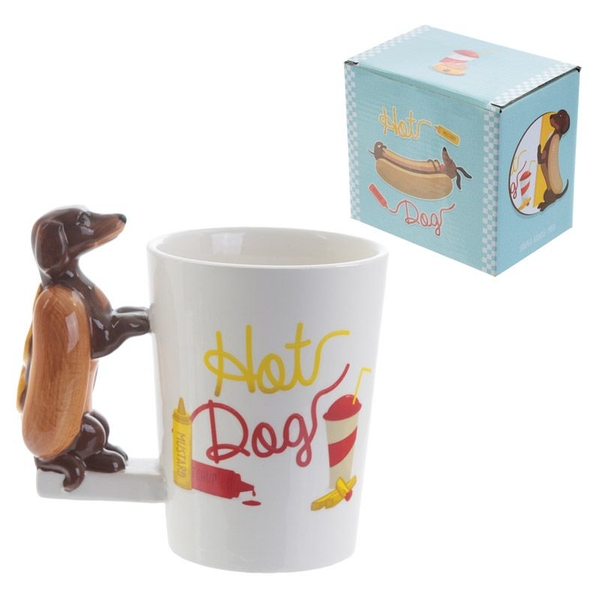 Fun Sausage Dog and Bun Shaped Handle Ceramic Mug