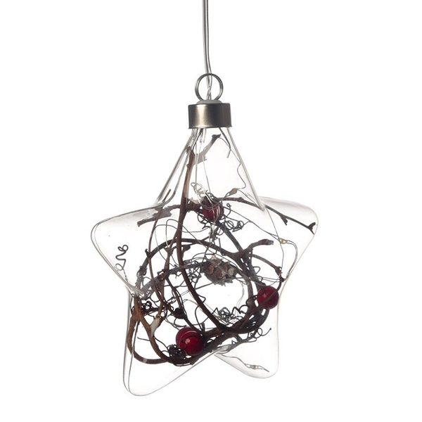 Christmas Winter Berries Star Small Decorative Hanging LED