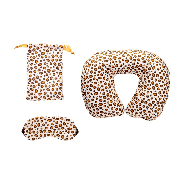 Sass & Belle Leopard Love Travel Pillow and Eye Mask Set