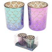 Mermaid Tail Set of 2 Glass Candleholder