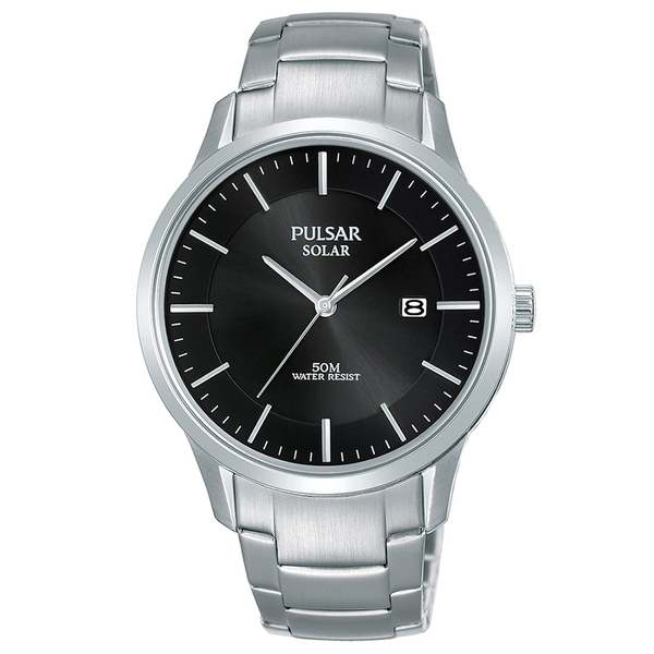 Pulsar PX3161X1 Mens Solar Stainless Steel Bracelet  Black Dial 50M Watch