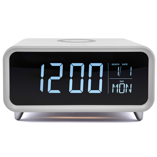 Groov-e GVWC01WE Athena Alarm Clock with Wireless Charging Pad & Night Light - White UK Plug