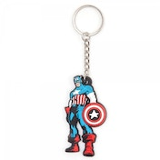 Marvels Comics Captain America Super Soldier Stance Rubber Keychain