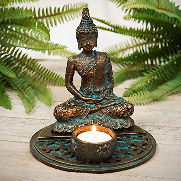 Verdigris Effect Thai Buddha Tealight Holder 16cm