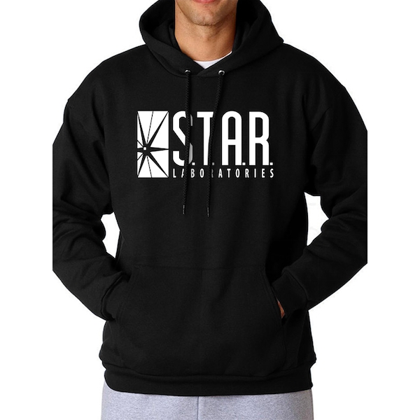 The Flash - Unisex Large Star Labs Logo Full Length Hoodie (Black)