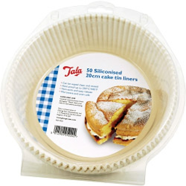 Tala Siliconised 20cm Cake Tin Liners, Greaseproof Liners (Set of 50)