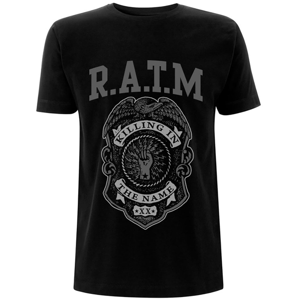 Rage Against The Machine - Grey Police Badge Unisex Small T-Shirt - Black