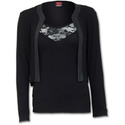 Gothic Elegance 2In1 Lace Vest Cardigan Women's Medium Long Sleeve Top - Black