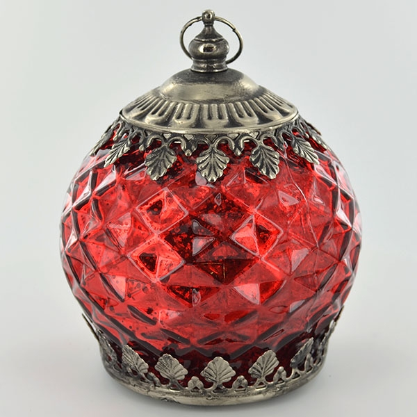 LED Lantern Red Pattern H14.5cm