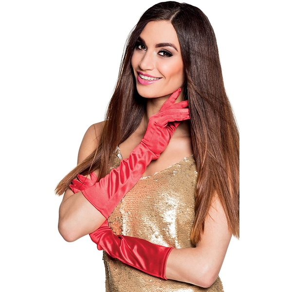 Elastic satin Gloves (Red)