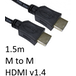 HDMI 1.4 (M) to HDMI 1.4 (M) 1.5m Black OEM Display Cable - Image 2