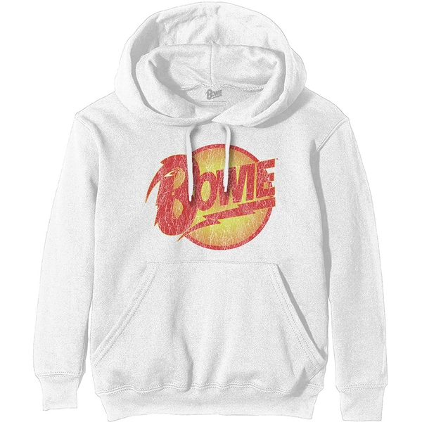 David Bowie - Vintage Diamond Dogs Logo Unisex XX-Small Hoodie - White