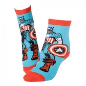 Marvel Comics Captain America Adult Male Super Soldier & Shield Crew Socks (Blue)