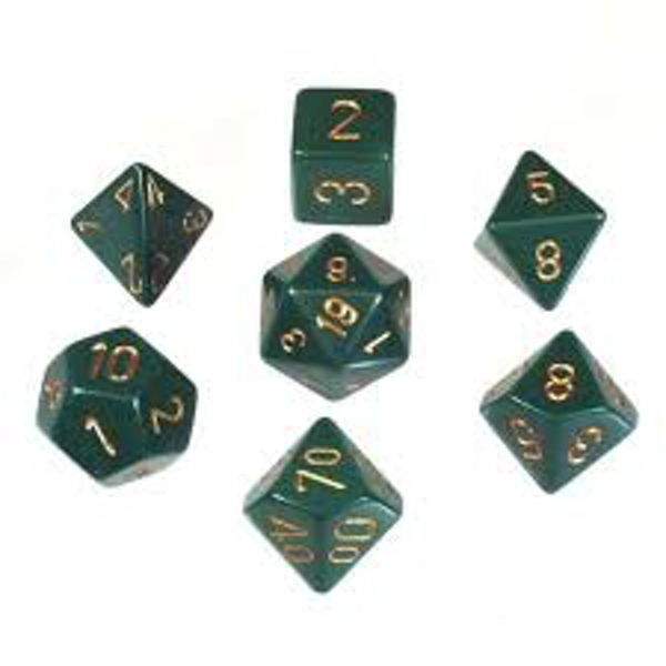 Chessex Opaque Poly 7 Set: Dusty Green/Copper