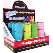 Infapower F007 Glow In The Dark 9 LED Torch (Pack of 12)