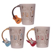 Novelty Guitar Shaped Handle Ceramic Mug (1 Random Supplied)