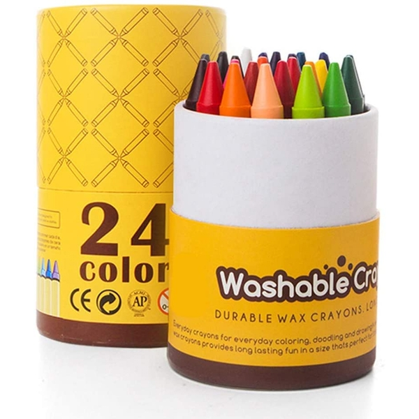 24 Coloured Washable Crayons