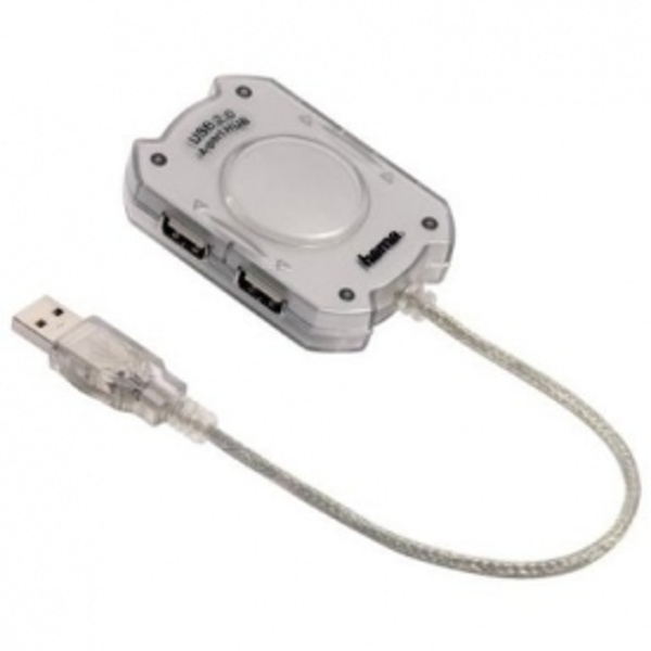 Hama USB 2.0 4 Port Hub Without Power Overload Protection 480Mbps Silver 78499