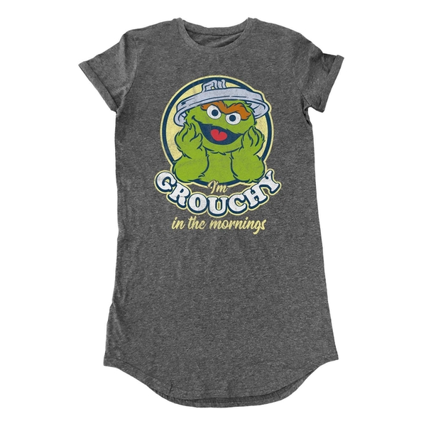 Sesame Street - Grouchy In The Morning Women's X-Large T-Shirt Dress - Grey