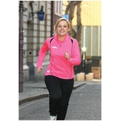 PT Ladies Running L/S 1/4 Zip Top Pink/Black 10 (34inch)