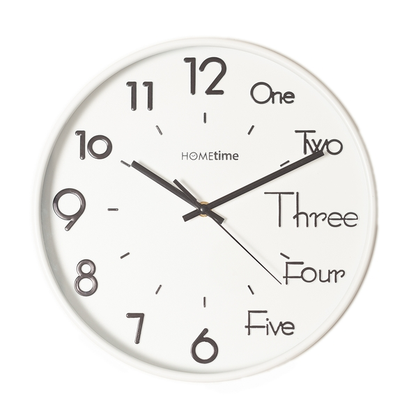 HOMETIME White Wall Clock with 3D Mixed Dial - 30cm