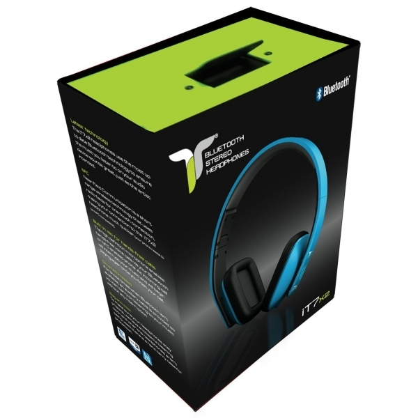 iT7x2 Foldable Wireless Bluetooth Headphones with Near Field Communication NFC Blue - Image 4