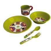 Oops Little Helper Soft Silicon Feeding Set Featuring an Owl/ Snail/ Cute Bear (Green)