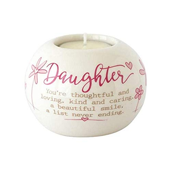 Said with sentiment Ceramic Tealight Candle Holder - Daughter
