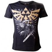 Zelda Men's Gold Link Logo Black T-Shirt Medium