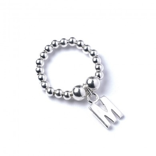 Initial M Charm with Sterling Silver Ball Bead Ring