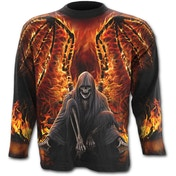 Flaming Death Allover Men's X-Large Long Sleeve T-Shirt - Black