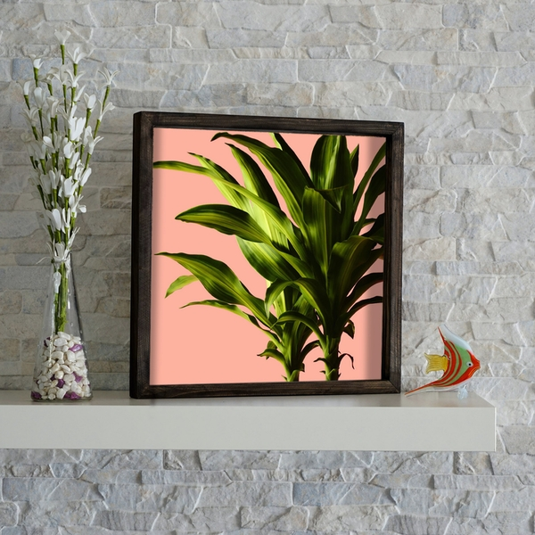 KZM215 Brown Pink Green Decorative Framed MDF Painting