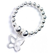 Sterling Silver Ball Bead Toe Ring with Butterfly Charm