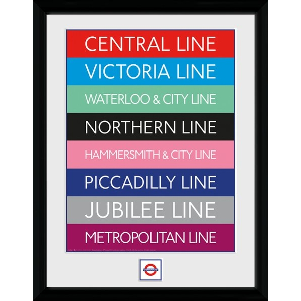 """Transport For London Lines 12"""" x 16"""" Framed Collector Print"""