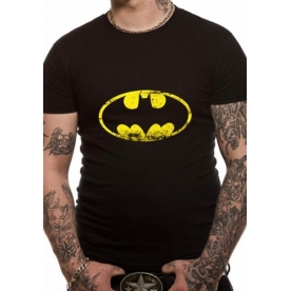 Batman Distressed Logo DC Essentials Range T-Shirt X-Large - Black