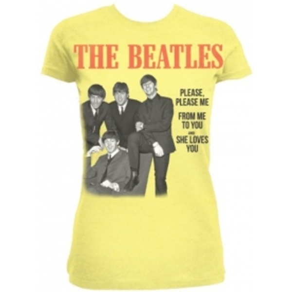 The Beatles Please Please Me Yellow Ladies TS: Small