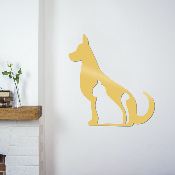 Cat And Dog - Gold Gold Decorative Metal Wall Accessory
