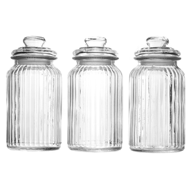 Set of 3 Vintage Airtight Glass Jars | M&W 1300ml