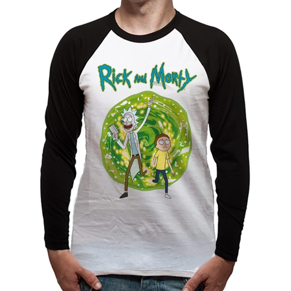 Rick And Morty - Portal Men's Medium Long Sleeved Baseball T-Shirt - White